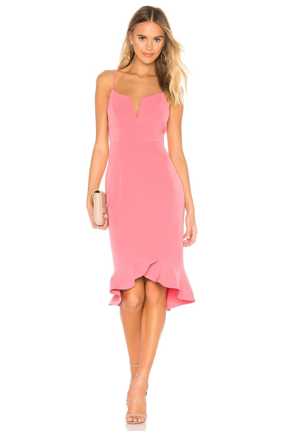 BARDOT Kristen Peplum Pink Dress
