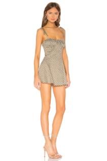 MAJORELLE Tahoe Green & White Dot Dress