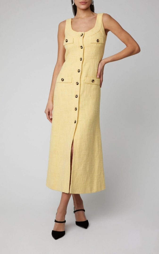 good quality a few days away new arrive ALESSANDRA RICH Button-Embellished Cotton Blend-Tweed Midi Yellow Dress