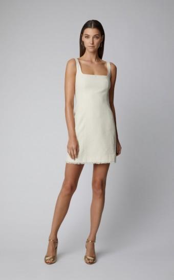 ALEXACHUNG Cotton-Blend Mini Neutral Dress