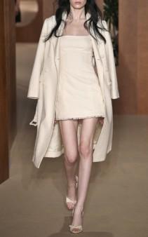 ALEXACHUNG Cotton-Blend Mini Beige Dress