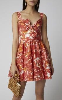 ALEXIS Belka Tie-Front Cotton-Blend Mini Floral Orange Dress