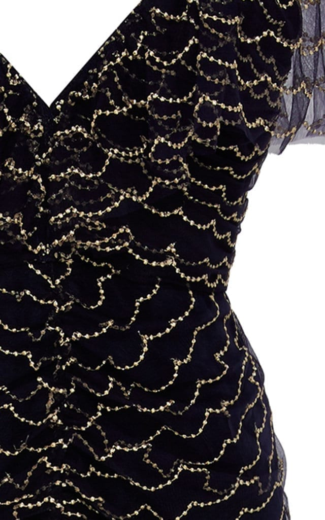 ALICE MCCALL Venus Valentine Beaded Silk-Chiffon Navy Blue Gown