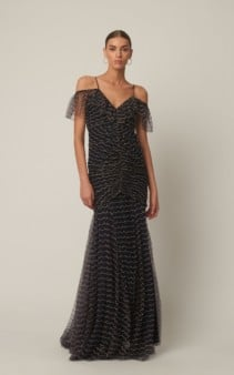ALICE MCCALL Venus Valentine Beaded Silk-Chiffon Navy Blue Gown