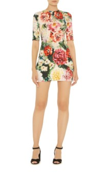 DOLCE & GABBANA Floral Jacquard Mini Multi-Color Dress