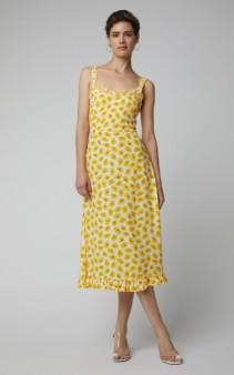 FAITHFUL THE BRAND Noemie Sleeveless Midi Floral Yellow Dress