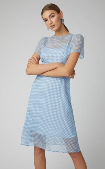 HVN Lindy Gingham Sllk-Chiffon Blue Dress