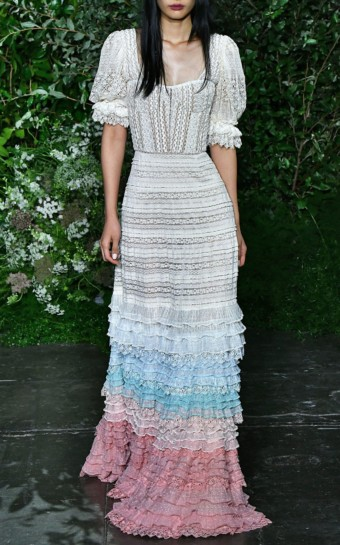 JONATHAN SIMKHAI Tiered Cotton-Blend Lace Multi-color Dress