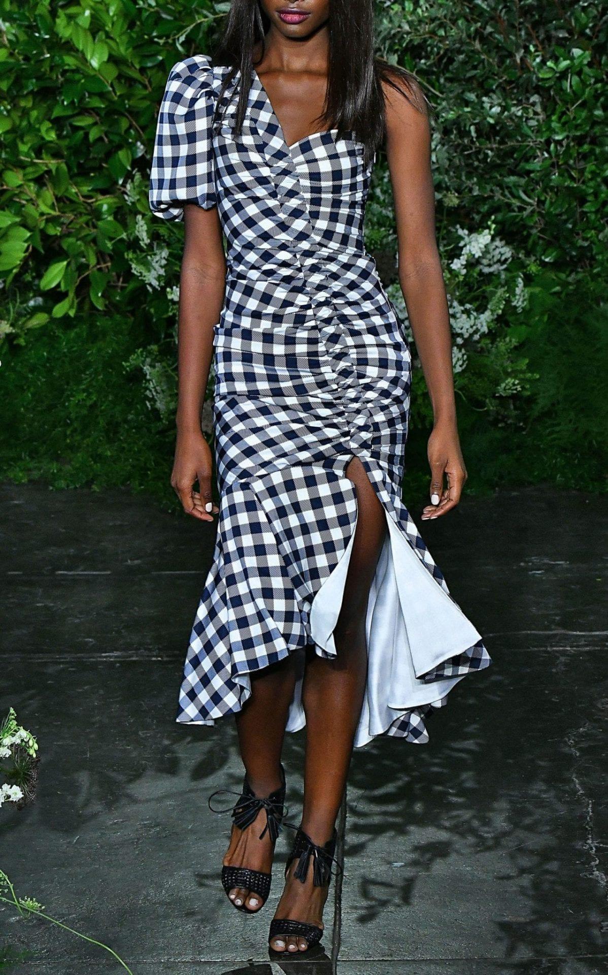 JONATHAN SIMKHAI One-Shoulder Ruched Gingham Twill Midi Plaid Dress