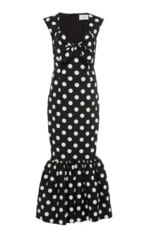 REBECCA DE RAVENEL Tie-Front Polka-Dot Stretch-Cotton Maxi Black Dress