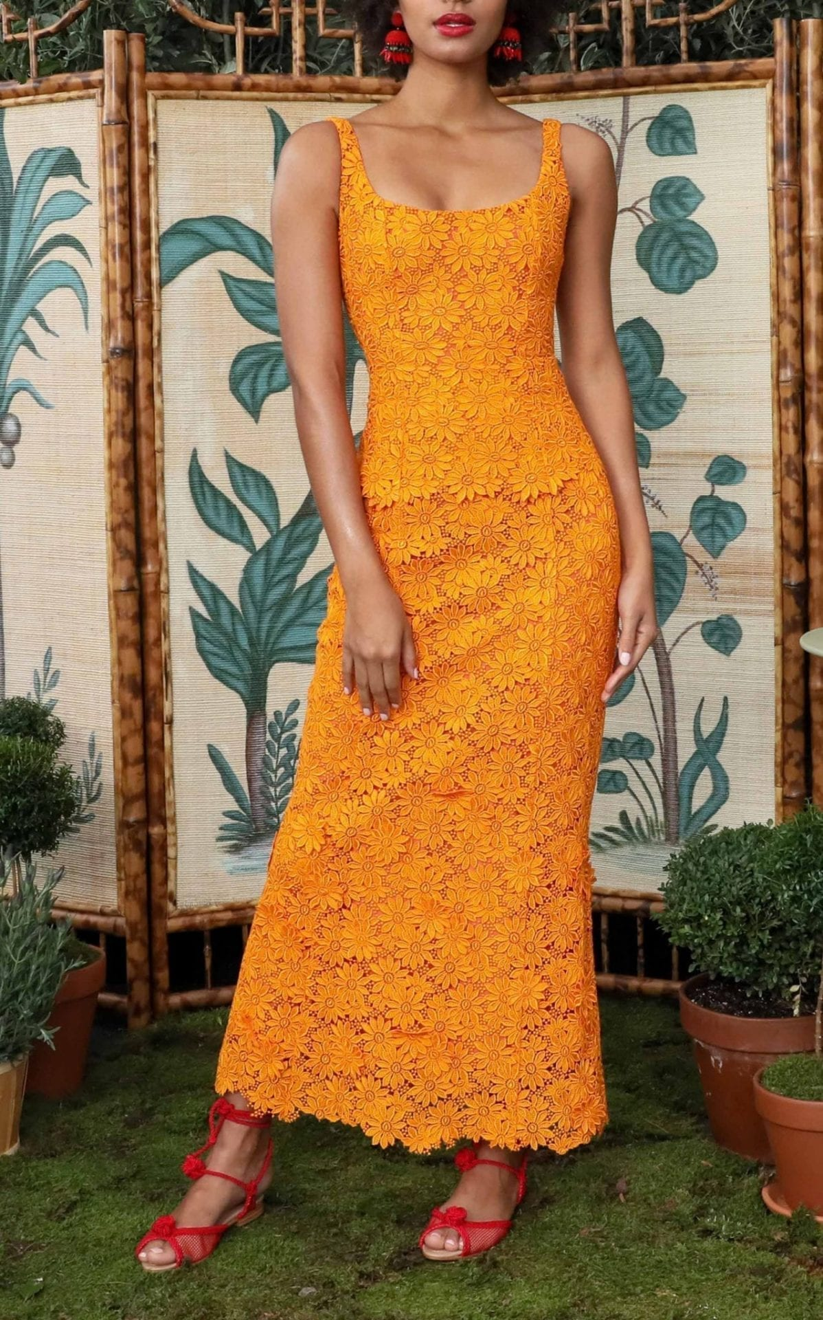 REBECCA DE RAVENEL Penelope Sleeveless Guipure Lace Orange Dress
