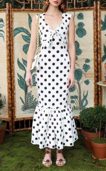 REBECCA DE RAVENEL Tie-Front Polka-Dot Stretch-Cotton Maxi White Dress
