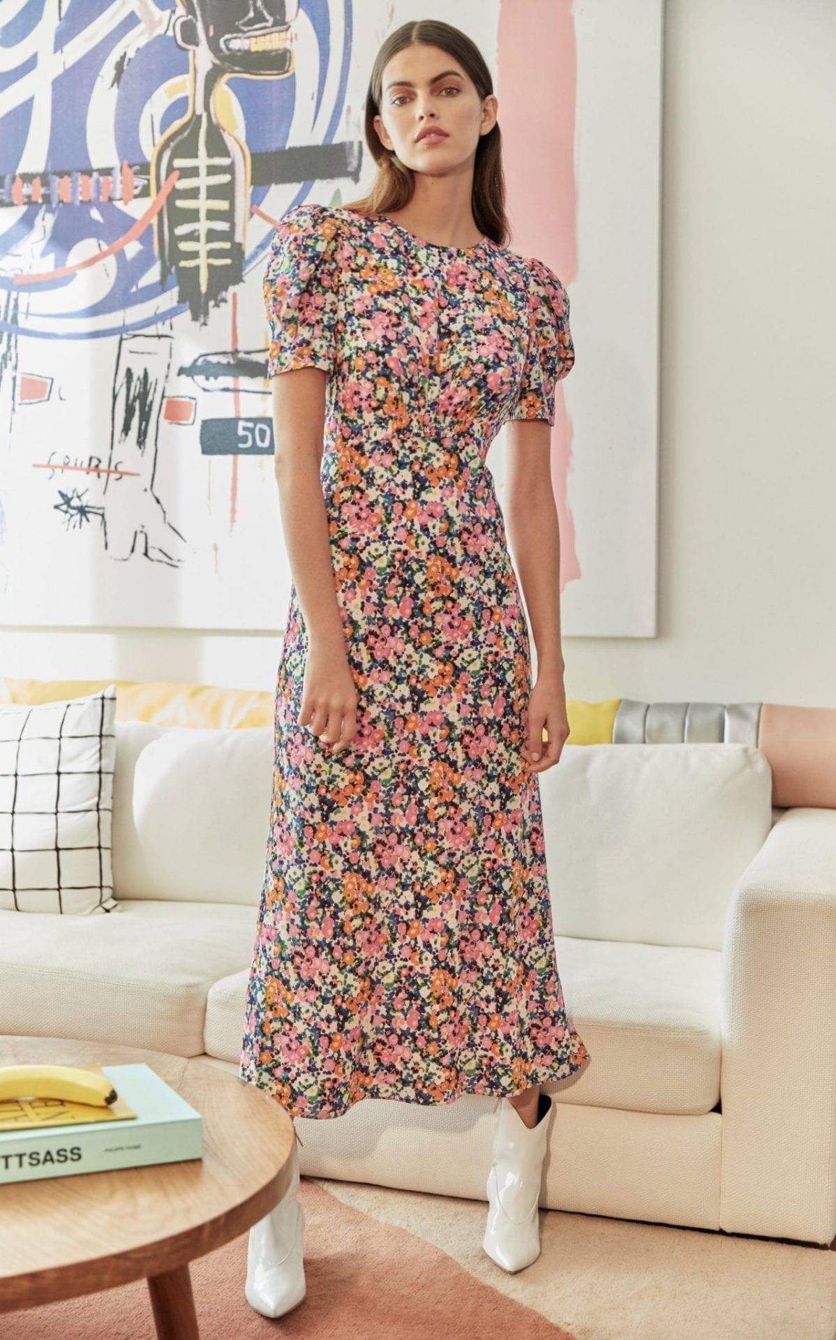 SALONI Bianca Floral-Print Silk Multi-color Dress