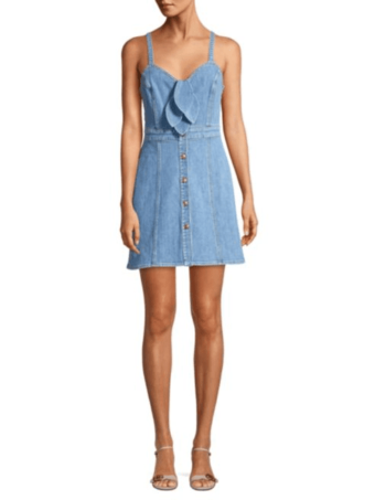 SAKS FIFTH AVENUE 7 For All Mankind Double Bow Tie-Front Bright Blue Denim Dress