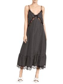 SAKS FIFTH AVENUE Marc Jacobs Polka Dot & Lace Silk Midi Slip Black Dress