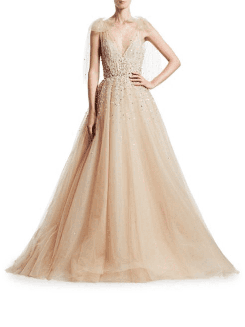 SAKS FIFTH AVENUE Monique Lhuillier Embellished A-Line Champagne Gown with Bow Detail