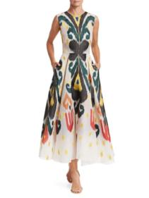 SAKS FIFTH AVENUE Oscar de la Renta Abstract Ankle-Length Flare Multi White Dress