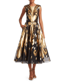 SAKS FIFTH AVENUE Oscar de la Renta Metallic Ikat A-Line Black Gold Dress