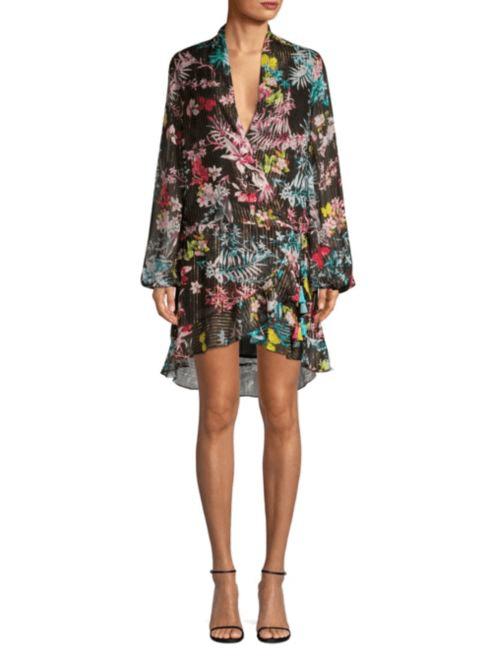 c3af36d94fa ROCCOCO Sand Floral Wrap Black Dress - We Select Dresses
