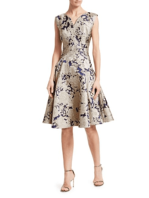 SAKS FIFTH AVENUE Zac Posen Metallic Jacquard Cocktail Silver Blue Dress