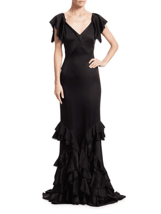 SAKS FIFTH AVENUE Zac Posen V-Neck Ruffle Trim Satin Black Gown