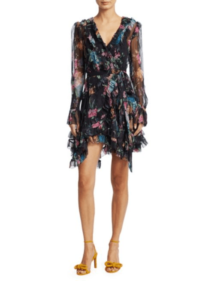 SAKS FIFTH AVENUE Zimmermann Ninety-Six Floral Ruffle Silk Black Blossom Dress