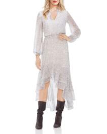 1.STATE Animal-Print High/Low Ivory Dress