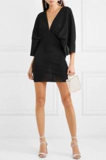 ROTATE BIRGER CHRISTENSEN Metallic Plissé Stretch-Knit Mini Dress