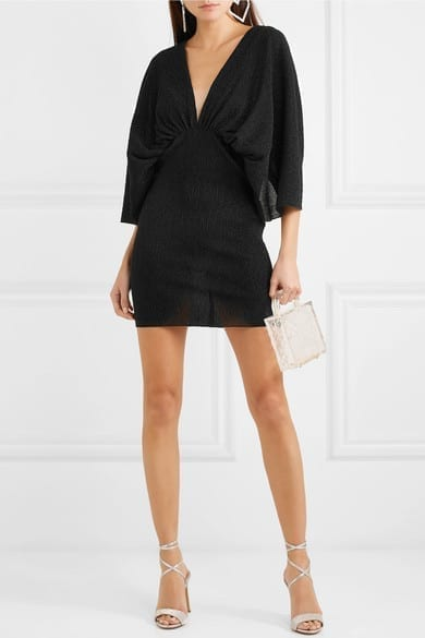 ROTATE BIRGER CHRISTENSEN Metallic Plissé Stretch-Knit Mini Dress