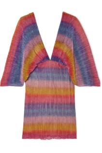 ROTATE BIRGER CHRISTENSEN Striped Metallic Plissé Stretch-Knit Mini Dress