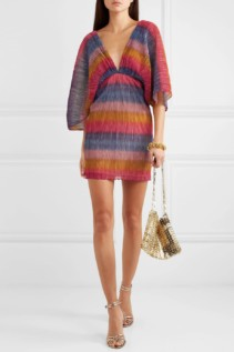 ROTATE BIRGER CHRISTENSEN Striped Metallic Plissé Stretch-Knit Mini Dress
