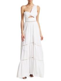 A.L.C. Piper Cotton One-Shoulder White Dress