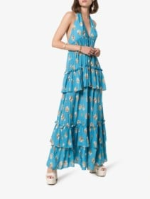 ADRIANA DEGREAS Conchiglie Tiered Halterneck Maxi Blue Dress