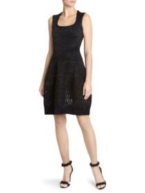 ALAÏA Diaphane Squareneck Black Dress