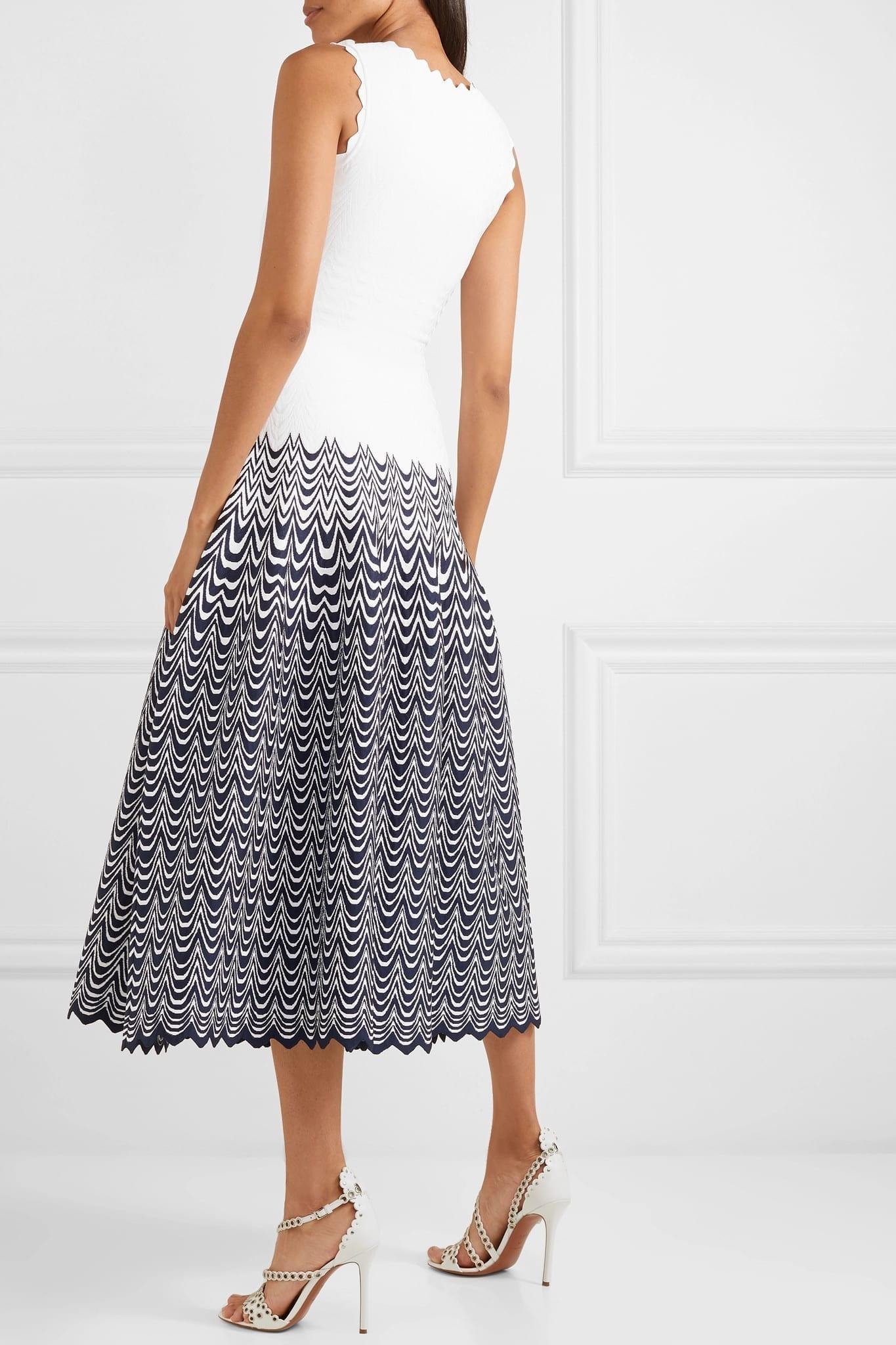 22b8919d630 ALAÏA Scalloped Jacquard-Knit Midi Scalloped White Dress - We Select ...