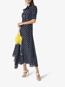 ALESSANDRA RICH Polka Dot-Print Silk Shirt Blue Dress