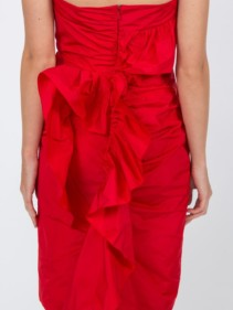 ALEXACHUNG Ruched Strapless Red Dress