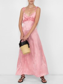 ALEXACHUNG Ruffle Trim Cami Pink Dress