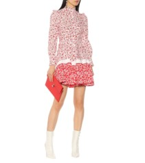 ALEXANDER MCQUEEN Floral-Printed Cotton Mini White Dress