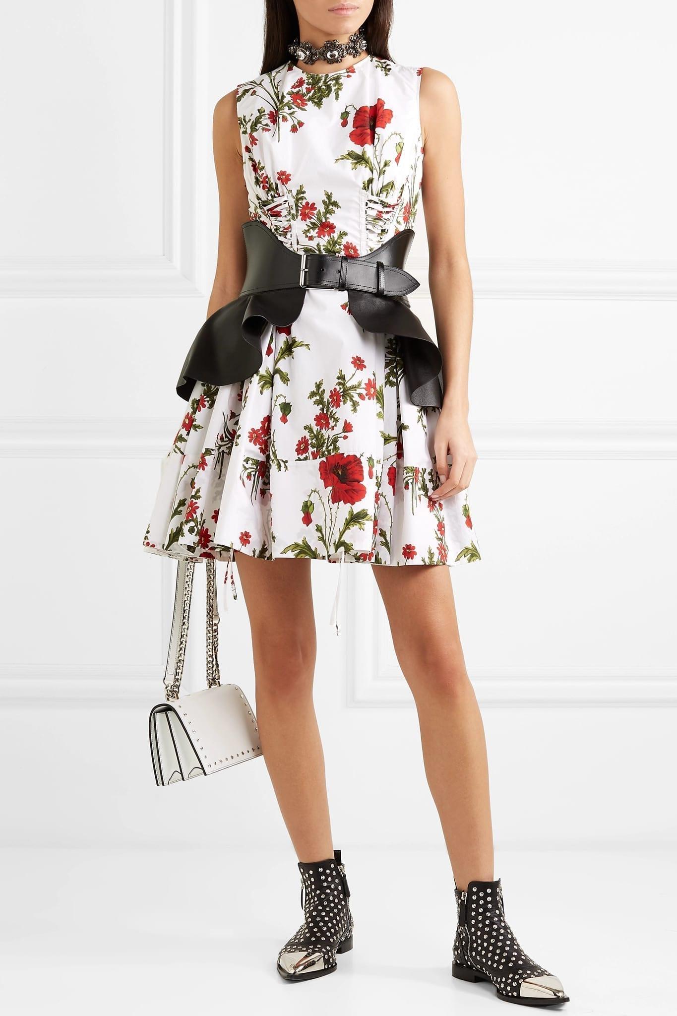 ALEXANDER MCQUEEN Lace-up Floral-Print Cotton-Poplin Mini White Dress