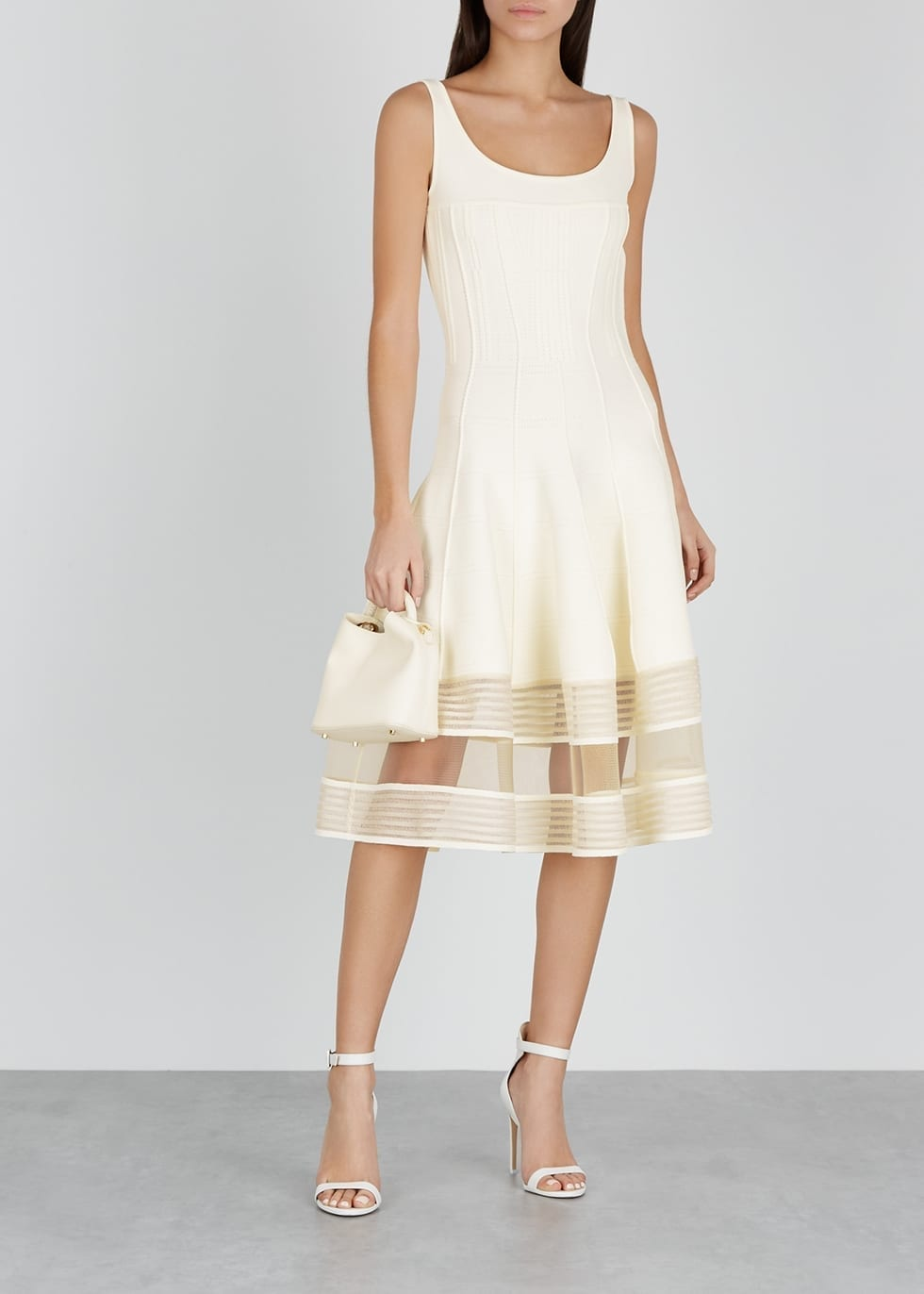 d95d42d8ac ALEXANDER MCQUEEN Sheer-Panelled Stretch-Knit Midi White Dress - We ...