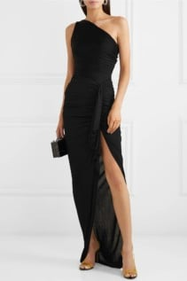 ALEXANDRE VAUTHIER One-Shoulder Ruched Ribbed Jersey Black Gown