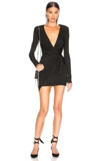 ALEXANDRE VAUTHIER Plunging Wrap Mini Black Dress