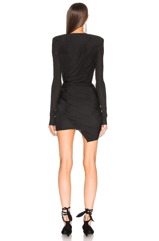 ALEXANDRE VAUTHIER Plunging Wrap Mini Black Dress