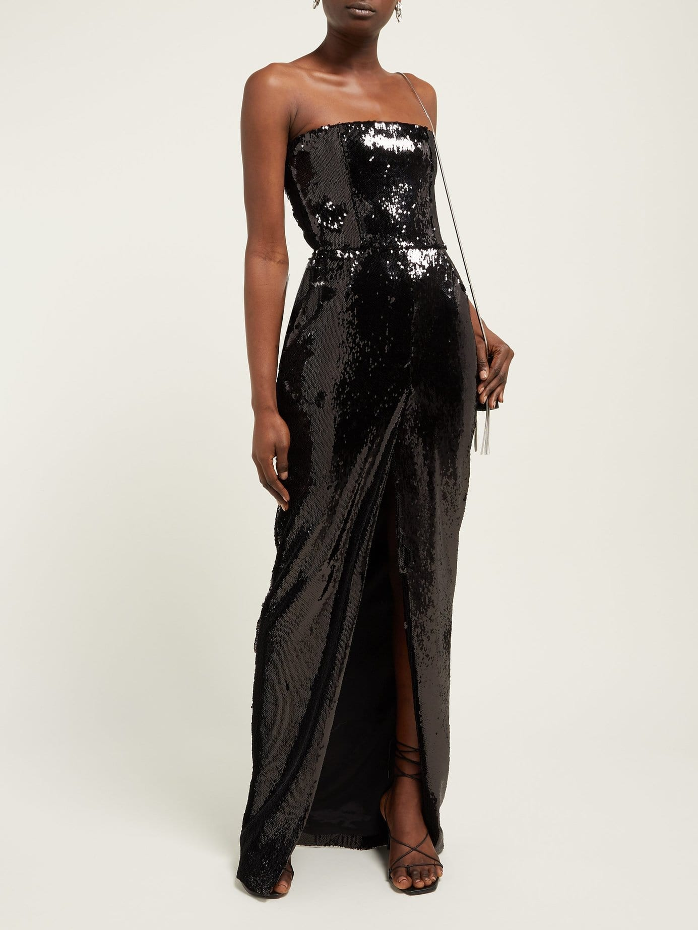 ALEXANDRE VAUTHIER Strapless Front-Slit Sequinned Black Gown