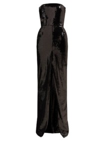 ALEXANDRE VAUTHIER Strapless Front-Slit Sequinned Black Gown
