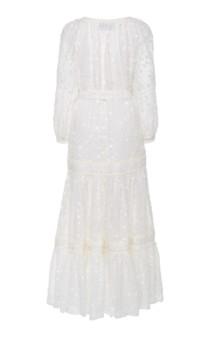 ALEXIS Joyce Tie-Front Fil Coupé Linen Maxi White Dress