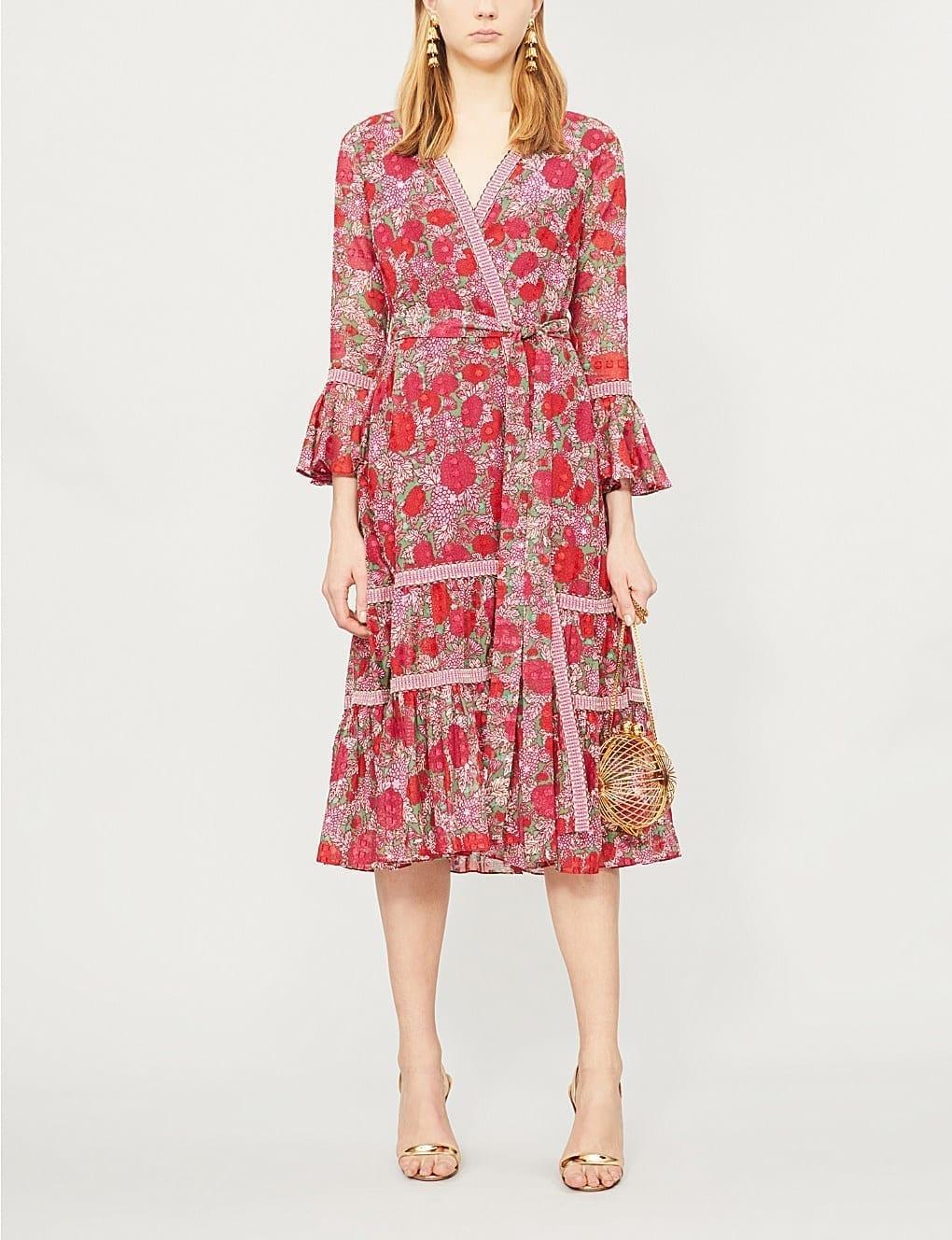 ALEXIS Marcas Floral-Print Cotton Red Dress