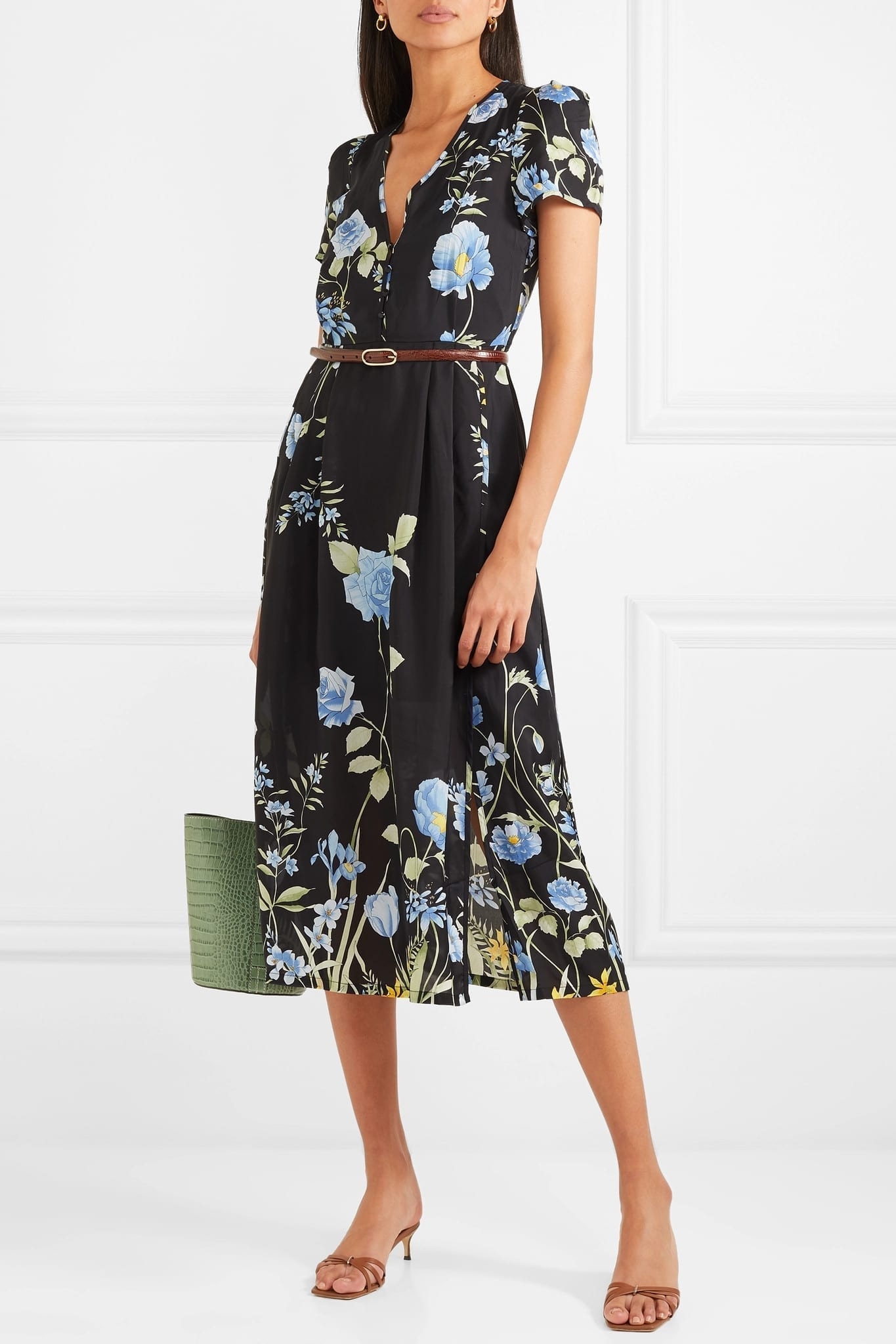 ALICE MCCALL Flower Girl Floral-Print Crepe De Chine Midi Black Dress