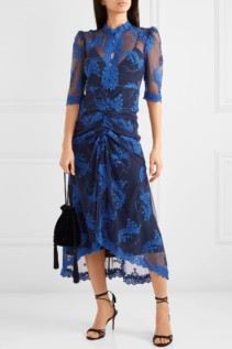ALICE MCCALL Honeymoon Ruched Embroidered Tulle Midi Navy Dress